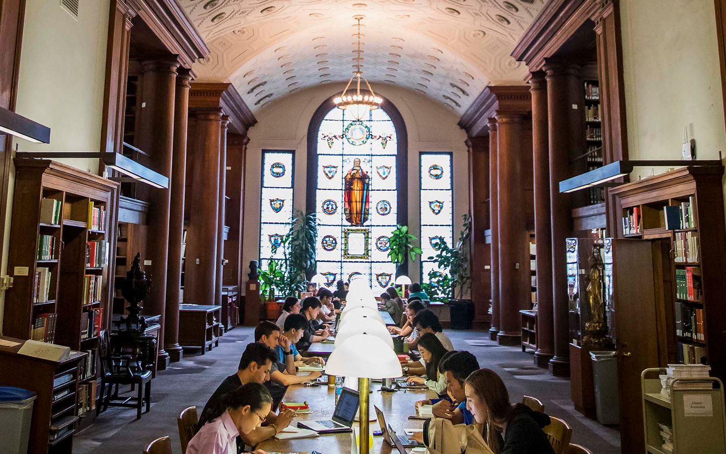 Students studying in Butler library