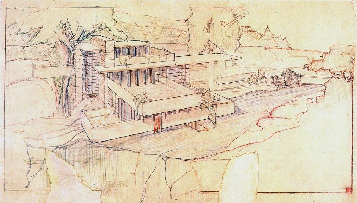 Frank Lloyd Wright's Fallingwater Sketch