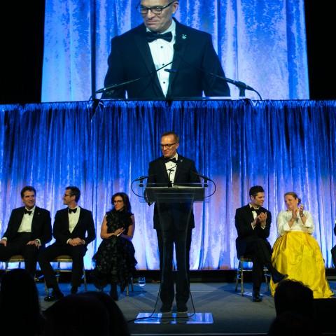Columbia College Dean Valentini starts the award ceremony
