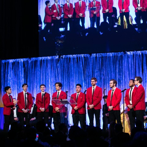 The Columbia Kingsmen perform to close the evening