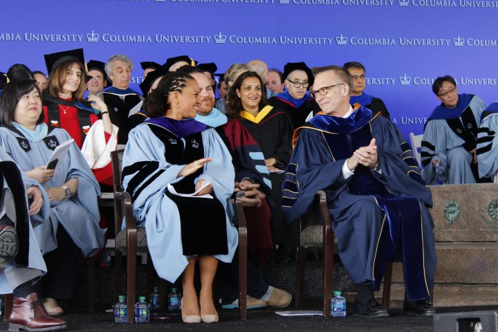 Sheena Wright CC'90, LAW'94 with Dean Valentini at 2017 Class Day