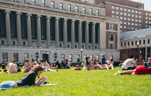 Photo of students on grass, Spring 2017