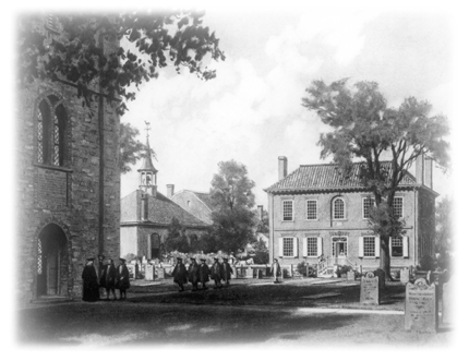 The first campus of King's College at Trinity Church