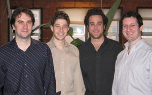 Steve Grushcow '97 (second from left) collaborated with Jim Curran '97E (far left) and John Coletti '97 (second from right) on Nylon Technology.