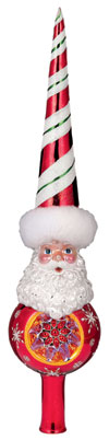 Dandy Stripe Santa Ornament