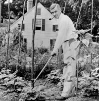 Mark Van Doren in his garden