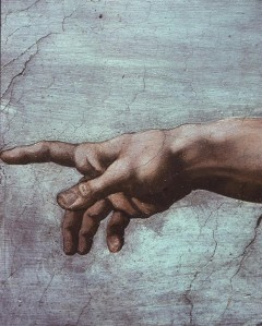 Hand of God and the Creation of Man. Sistine Chapel.: 1508-1512 CE Michelangelo Buonarroti. ArtStor: UCSD Slide Gallery
