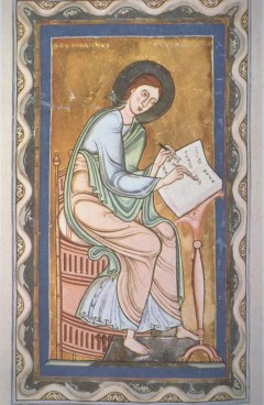 John Writing the Gospel: The Evangelist is shown in the act of writing- In principio erat verbum- into a codex. Location: Hessische Landes- und Hochschulbibliothek, Darmstadt, Germany. ArtStor: Art History Survey Collection.