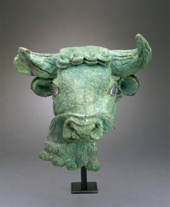 Copper Bull's Head with Lapis Lazuli Eyes. Sumerian. 27th c. BCE.: Artwork location and image: Saint Louis Art Museum