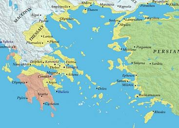 The Delian League (Athens) and The Peloponnesian League (Sparta): The Delian League is in Yellow. The Peloponnesian League is in Red.
