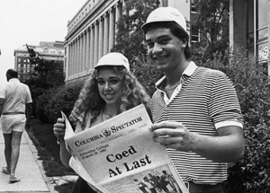 Donning their beanies, two first-years mark the start of a new era on August 29, 1983.
