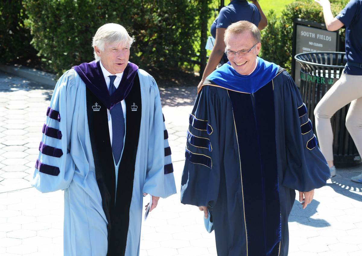 Columbia University President Lee C. Bollinger and Columbia College Dean James J. Valentini at Convocation 2016