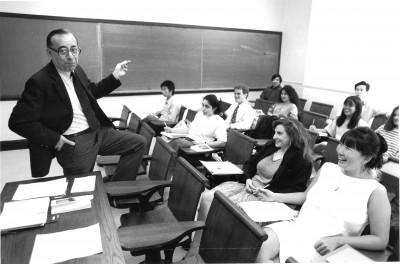 Mirollo pauses during a Literature Humanities class in 1991.