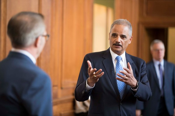 A photo of former US Attorney General Eric Holder