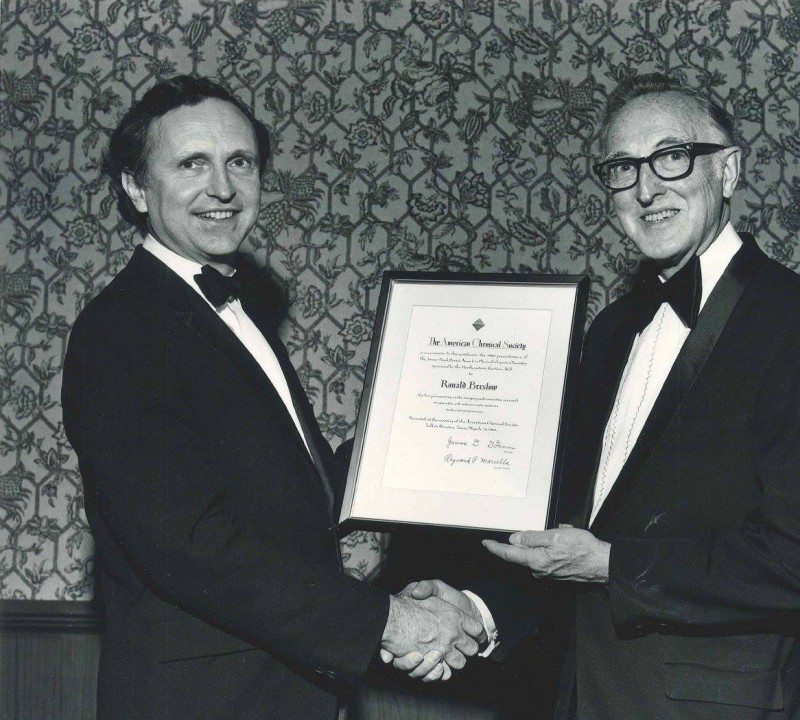 University Professor Ronald Breslow receives the American Chemical Society Award in Pure Chemistry (1966).