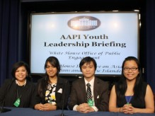 Several Columbia students visited the White House for the Asian American Pacific Islander Youth Leadership Briefing on January 12. Pictured, R-L: Belle Yan CC '12, Vincent Nguyen GS, Joya Ahmad SEAS '15, and Melinda Aquino, Associate Dean of Multicultural Affairs.