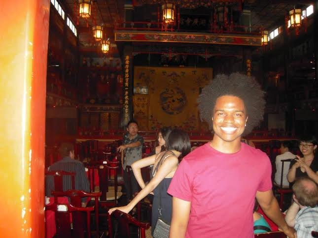 Demarttice Tunstall CC'15 at the Peking Opera while studying on the Summer Language Program in Beijing. Photo: Courtesy Demarttice Tunstall CC'15