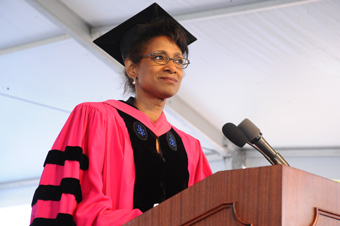 Dean Michele Moody-Adams speaks at Class Day