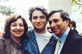 Futterman with his parents, Linda (née Roth) BC '62 and Stanley CC '61, on his Class Day in 1989. PHOTO: COURTESY DAN FUTTERMAN CC '89