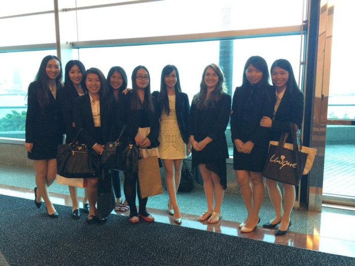 Chloé Durkin CC'15 with her fellow interns at DT Communications while a participant on CEO Hong Kong. Photo: Courtesy Chloé Durkin CC'15