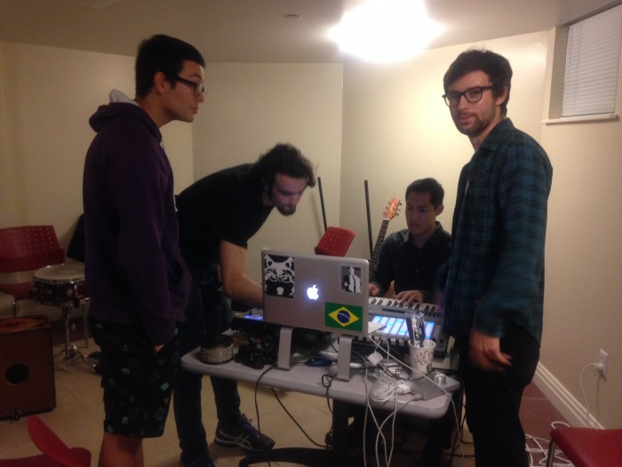 Student members of Creative Commons prepare music for an event. Photo: Angel Wang CC'16