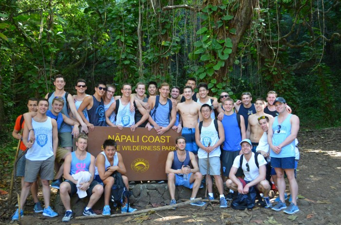 The Men's Swimming and Diving Team on a day off while training in Hawaii in January 2015. Photo: Courtesy Sam Dunkle CC'15