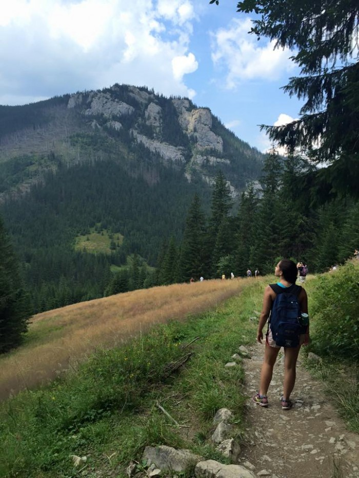 Alixandra Prybyla CC'18 hiking through Tatra National Park on the border of Poland and Slovakia during a Jagiellonian University weekend trip. Photo: Courtesy Alixandra Prybyla CC'18