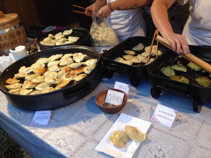 A sampling of handmade pierogi offered during the 12th annual Pierogi Festival in Krakow, Poland. Photo: Alixandra Prybyla CC'18