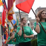The Class of 2017 was welcomed to Columbia at Convocation. Members of the New Student Orientation Program committee carried flags showcasing all of the nations represented in the undergraduate student body. Photo: Eileen Barroso