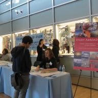 More than 500 students learned about study abroad and fellowships opportunities during the Annual Study Abroad Fair in Lerner Hall. Representatives promoted programming in more than fifty countries. Photo: Sydney Schwartz Gross