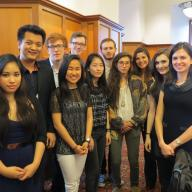 The 2014 Core Scholars — Jeremy Corren '17, Soomin Kang '16, Tiffany May '17, Ethan Plaue '15 and Matt White '15 — were honored in a reception at the Center for the Core Curriculum.   Each year the Core Scholars Program invites any student who has taken a Core course to reflect on the materials of the Core Curriculum by creating a Core Reflection. Students who submit exceptionally creative and well executed reflections are honored as Core Scholars.