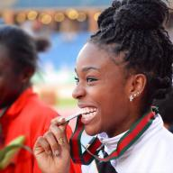 Nadia Eke '15 won the triple jump at the indoor and outdoor Ivy League Heptagonal Championship meets on March 1 and May 11 respectively. She also won the Ivy League title in the long jump on March 1, during the indoor season, and finished sixth in the triple jump at the NCAA Indoor Track and Field Championships, earning First Team All-America honors, on March 15. Photo: Courtesy Columbia University Athletics