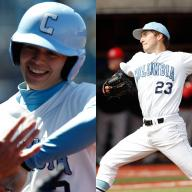 Will Savage '15 and David Speer '14, both members of Columbia Baseball, were named Ivy League Rookie of the Year and Ivy League Pitcher of the Year, respectively. Savage and Speer were joined by David Vandercook '15 on the All-Ivy League first team. Photo: Courtesy Columbia University Athletics