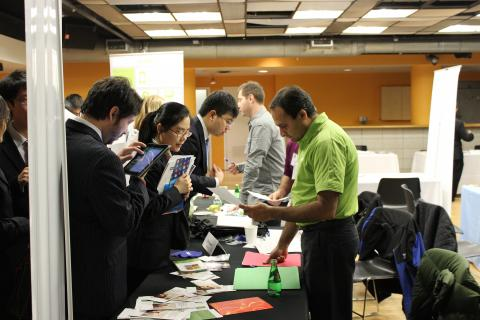 An employer reviews a student's resume during CCE's Spring Career Fair in Lerner Hall, which attracted more than 1,300 students and alumni. Photo: Katie Taflan