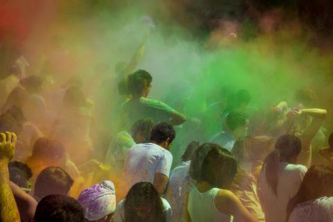Members of the Columbia community celebrated the arrival of spring on campus and Holi, the Hindu festival of colours, with festivities on Ancel Plaza. Photo: Nate Johnson