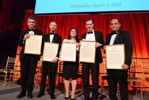 Five accomplished alumni were each presented with a 2014 John Jay Award for distinguished professional achievement at the annual John Jay Awards Dinner, held at Cipriani 42nd Street on March 5