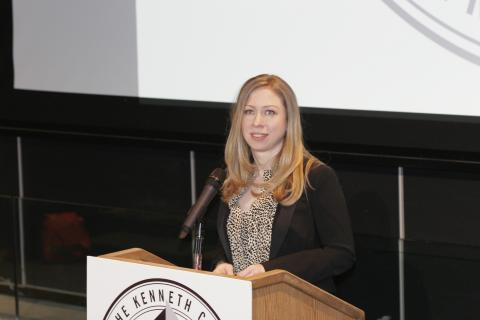 Chelsea Clinton PH'10, an adjunct assistant professor of health policy and management at the Mailman School of Public Health, spoke to students and scholars at the Kenneth Cole Community Engagement Program Spring Forum, encouraging students to consider their generation's commitment to action and their ability to effect real change.