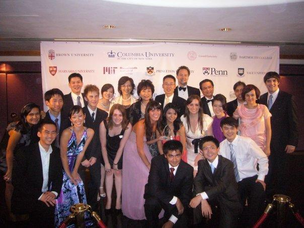 Lee (top row, center) with students from the Columbia Overseas Program on their way to the Ivy Ball in Hong Kong in Summer 2010.