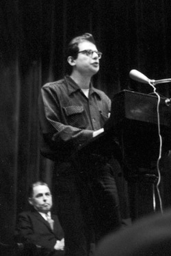 Ginsberg attracted a capacity crowd when he returned to campus for his poetry reading in McMillin Theater (now Miller Theatre) on February 5, 1959. photo: Fred W. McDarrah/getty images