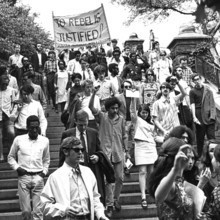 Student protesters entering Morningside Park, site of the proposed gymnasium that was one of the key issues in the protests. PHOTO: HUGH ROGERS PHOTOGRAPHY