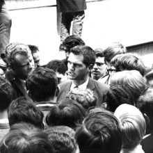 Acting Dean Henry Coleman '46 speaking to students outside Hamilton Hall, where he remained confined to his office for 26 hours as students occupied the building.