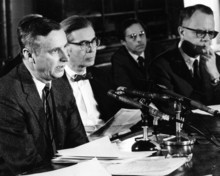 Wm. Theodore de Bary '41 (left) and Richard Hofstadter (second from left) were among members of an Ad Hoc Faculty Committee that tried to negotiate a solution to the dispute.