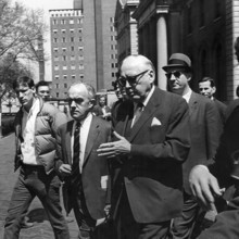 President Grayson Kirk (center) and Vice President David B. Truman (to Kirk's right) were the key administration figures during the protests.