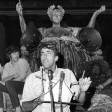 SDS chair Mark Rudd '69, who quickly became the best-known of the protesters, addressing a rally on Low Plaza on May 17. PHOTO: UNITED PRESS INTERNATIONAL