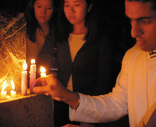 A candlelight vigil took place on campus soon after the events of 9-11. Photo: eliza bang '03 barnard