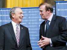 New York City Mayor Michael Bloomberg joined Quigley and other Columbia officials on stage in Low Library to thank John Kluge '37 for his historic $400 million gift to Columbia. PHOTO: EILEEN BARROSO