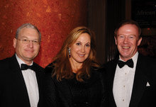 Vice-chair of the University Board of Trustees Philip Milstein '71 and his wife, Cheryl Milstein '81 Barnard, congratulate Quigley at the 2008 Alexander Hamilton Award Dinner. PHOTO: EILEEN BARROSO