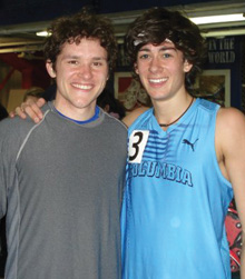 Boylan-Pett and Kyle Merber '12 after Merber's sub–four-minute mile.