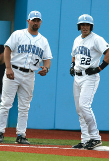 Coach Brett Boretti (left, with outfielder Mike Malfettone '08) guided the lions to the Ivy crown in his third season at Columbia. PHOTO: GENE BOYARS