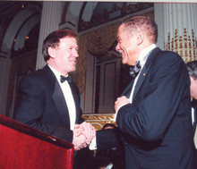 Quigley and Carlos Muñoz '57 at the 2001 John Jay Awards Dinner. Photo: Eileen Barroso
